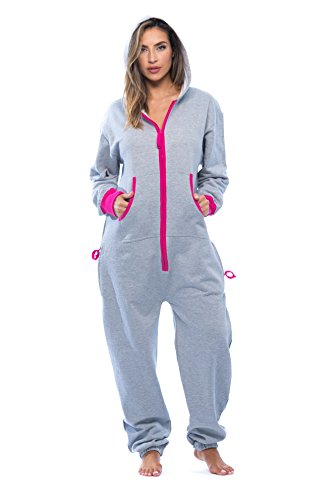 #followme 6438-GRY-M Adult Onesie Pajamas Jumpsuit