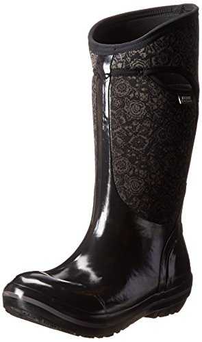 Black Winter Plimsoll Boot Tall Bogs Women's Snow Quilted Floral c1W8HSq