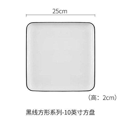 Breakfast plate European white plate ceramic square plate pure white household dish rectangular plate steak bone china Western plate 10 inch square plate 25x2cm
