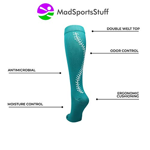57bef461b MadSportsStuff Softball Socks with Stitches Over The Calf (Teal White