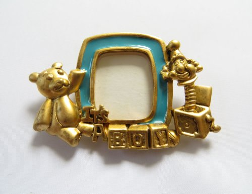 Danecraft Gold - Plated Baby Boy Picture Frame Pin Brooch (Gold Brooch Locket Plated)