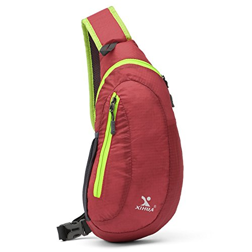 Bolso de pecho de viaje de tela de poliéster a prueba de agua resistente al desgaste de gran capacidad bolsa de mensajero bolsa de mensajero , green red