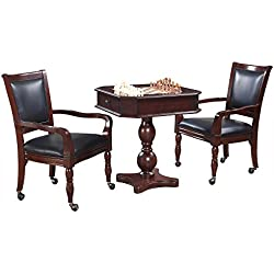 Hathaway Fortress Chess, Checkers & Backgammon Pedestal Game Table & Chairs Set - Mahogany