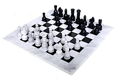 RADICALn 16 Inches Large Handmade White and Black Weighted Marble Full Chess Game Set Staunton and Ambassador Style Marble Tournament Chess Sets -Non Wooden -Non Magnetic -No Digital Dgt -Not Chinese