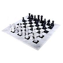 RADICALn 16 Inches Handmade White and Black Marble Full Chess Game Original Marble Chess Set *