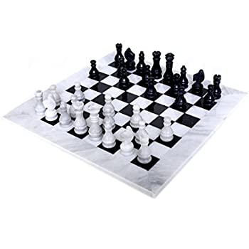 RADICALn 16 Inches Large Handmade White And Black Weighted Marble Full Chess  Game Set Staunton And