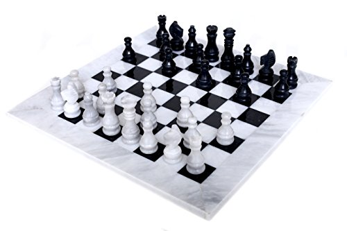 RADICALn 16 Inches Large Handmade White and Black Weighted Marble Full Chess Game Set Staunton and Ambassador Style Marble Tournament Chess Sets for Adults - Non Wooden - Non Magnetic - No Digital Dgt
