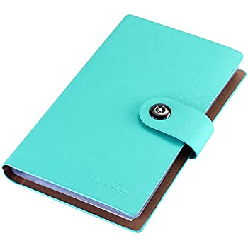 Amazon business card holder book pu leather 300 name cards business card holder book pu leather 300 name cards organizer blue reheart Choice Image