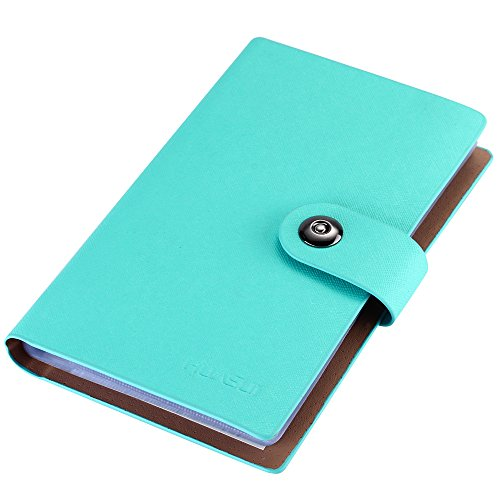 Card Holder Book - Business Card Holder Book PU Leather 300 Name Cards Organizer (Blue)