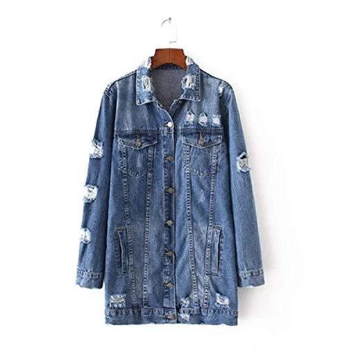 2018 Denim Jackets Women Hole Boyfriend Style Long Sleeve Vintage Jean Jacket Denim Loose Denim Coat