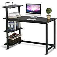 Topeakmart Multi-Function Adjustable Computer Desk Home Office Writing Table 4 Tier Shelf Wood Workstation Black