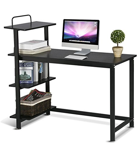 Yaheetech Wood Corner Computer Desk PC Laptop Table Workstation with 4 Tiers Shelves ()