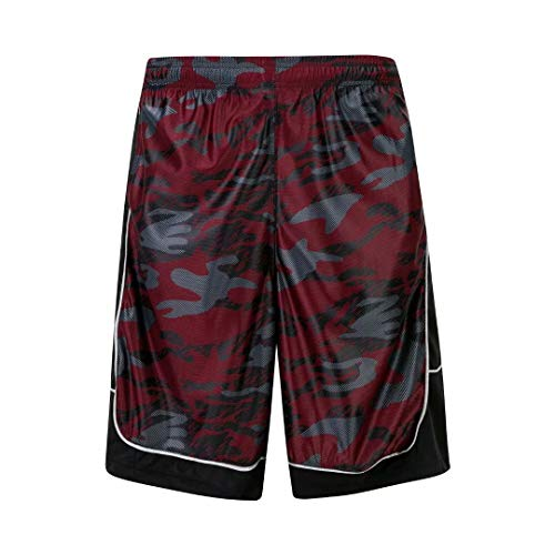 Red Camo Shorts - HQUEC Men's Camo Basketball Shorts Long Gym Workout Sport Shorts with Side Pockets Red/C1 M