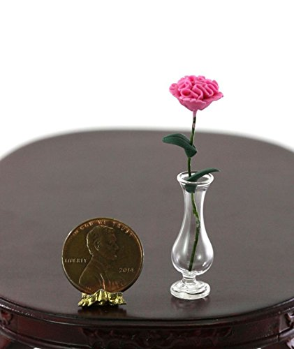 Dollhouse Miniature 1:12 Scale Clear Glass Vase w/Single Pink ()