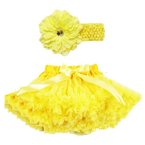 Buenos Ninos Girl's Tutu Pettiskirt Set Hair Clip Size 3-4T Yellow