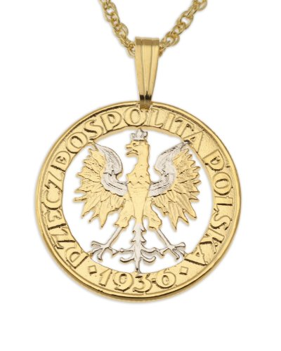 - Poland Coin Pendant & Necklace, Poland Two Zlotych Hand Cut