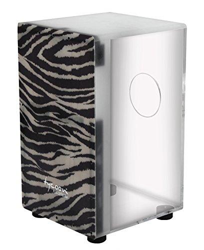 Tycoon 29 Series Clear Acrylic Cajon with Premium Fiberglass Front Plate - Zebra Design