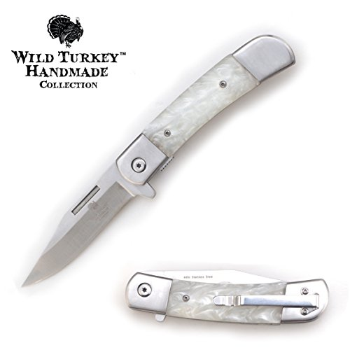 (Wild Turkey Handmade Pearl Handle Action Assist Folding Pocket Knife Hunting Camping Fishing Outdoors (White))