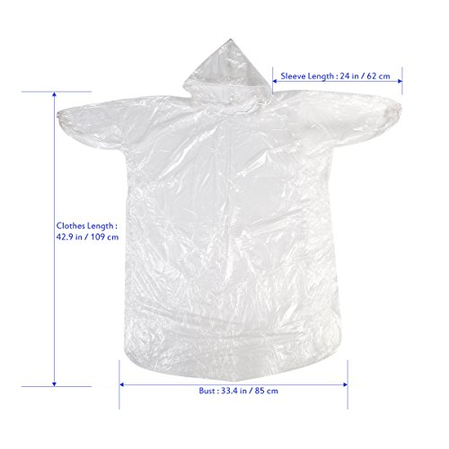 Foxnovo 5pcs Disposable Raincoats with Hat Cap for Outdoor Travel (Clear)