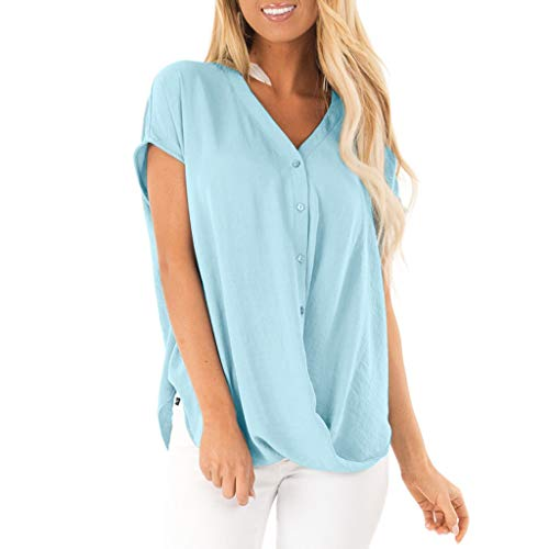 Price comparison product image Dressin 2019 Women Loose Tank Tops Casual Summer Solid Short Sleeves Plus Size Tops T-Shirt Blouse Tees Light Blue
