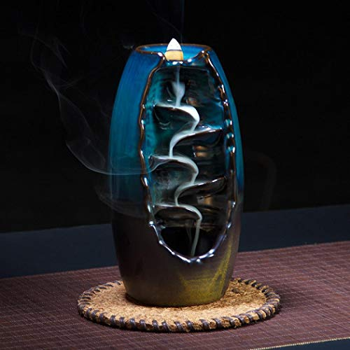 NewEGG Ceramic Backflow Incense Burner Waterfall Incense Holder Home Decor Aromatherapy Ornament with 10 Cones Incense