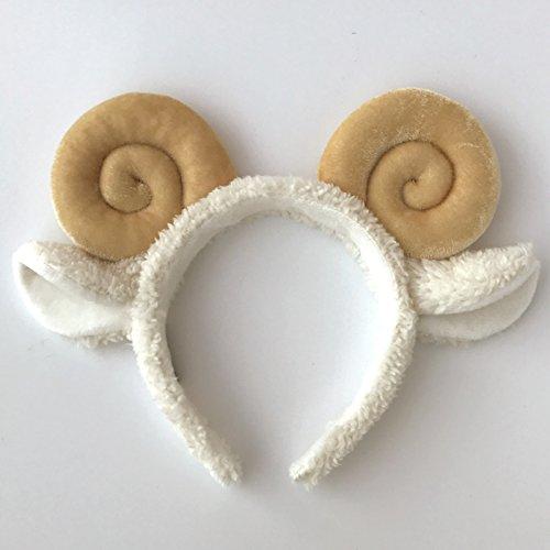 usongs Sheep hair bands cute plush ear men goat horn animal cartoon show Christmas card issuers headdress playground