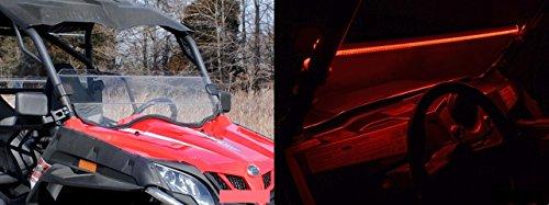 CFMOTO ZForce 800EX 2014+ Scratch Resistant Half Windshield | LED Windshield Light Strips (Red) by SuperATV