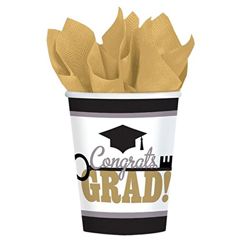 Key To Success Graduation Party Paper Cups Tableware, 9 Ounces, Pack of 50 Graduation Tableware