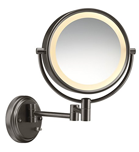 (Conair Round Shaped Double-Sided Wall Mount Lighted Makeup Mirror; 1x/8x magnification; Oiled Bronze Finish )