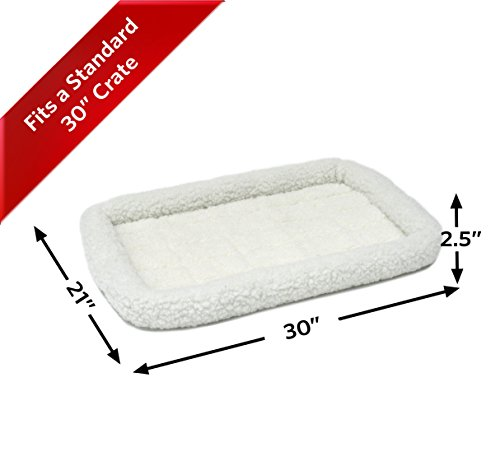 30L-Inch White Fleece Dog Bed or Cat Bed w/ Comfortable Bolster | Ideal for Medium Dog Breeds & Fits a 30-Inch Dog Crate