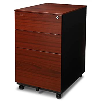 Image of Home and Kitchen Aurora FC-103RT Modern Soho Design 3-Drawer Metal Mobile File Cabinet with Lock Key/Fully Assembled, Metallic Charcoal/Red Teak