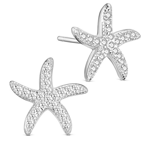SHEGRACE S925 Sea Star Studs Sterling Silver Earrings, Micro Pave AAA Zircon Starfish (Silver)