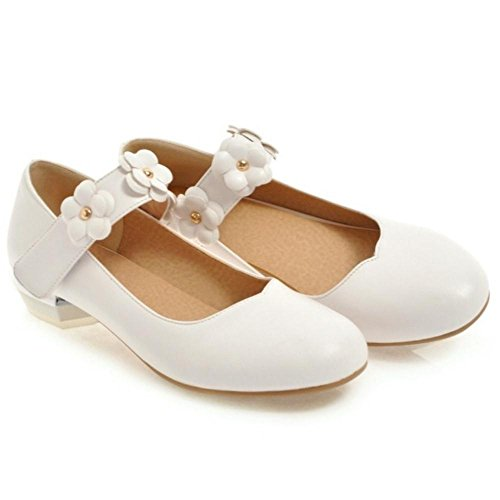 white Bout Escarpins Femmes Rond JOJONUNU ISxOH5