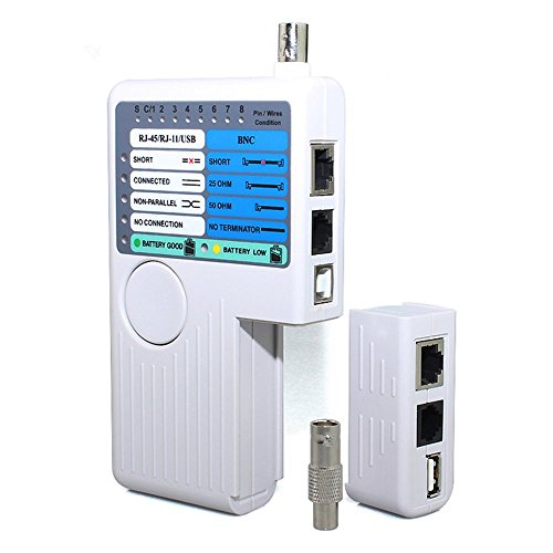 Cable Tester Meter (LingsFire Multifunctional Remote Network Cable Tester Rj11/ Rj45 /USB/ BNC LAN Cable Cat5 Cat6 Wire Tester)