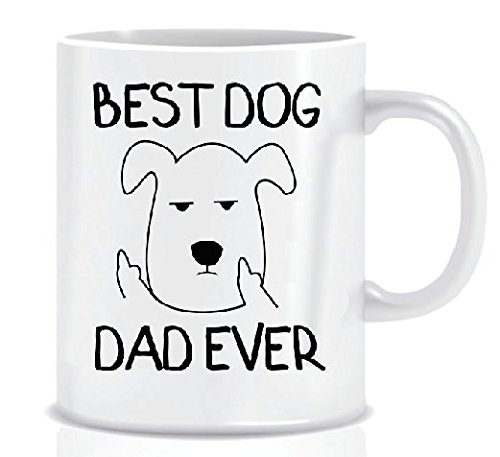 BEST DOG DAD EVER From Grumpy Dog Funny Mug Design for Dog Lover Dads - White Coffee Mug in Decorative Blue Ribbon Gift Box - Gifts for Dads, Men, Father, Friends - Foam Box Protected - 11 Oz (Ribbon Mug Coffee)