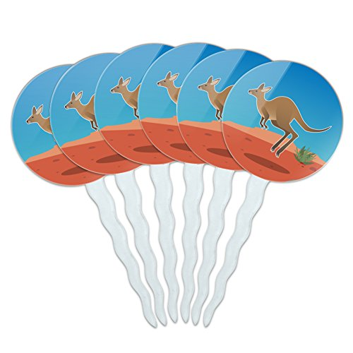 Kangaroo Hopping in the Australian Outback Cupcake Picks Toppers Decoration Set of (Australian Outback Animals)