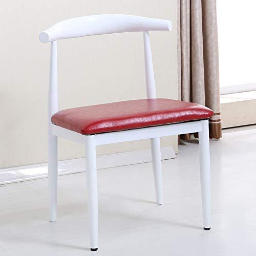 Nordic Eisen Rindhorn Stuhl, nachgemachtes Massivholz einfach Esszimmerstuhl, einen Café, ein westliches Restaurant, Freizeitstuhl, weiß-rotes Leder