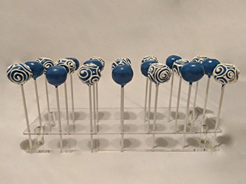 21 Hole Clear Acrylic Cake Pop Display Stand by FireHype | Great For Large Pops | Drying Cooling Decorating Cake Ball Holder | Cotton Candy Lollipop Dessert Sticks | Weddings, Baby Showers, Birthdays