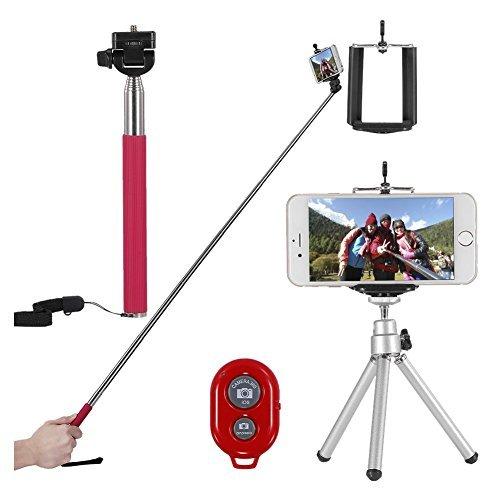 TOOGOO(R) Selfie Stick Kit 4-in-1 + Clip Phone + Bluetooth + Tripod Tripod Mini - Rose red