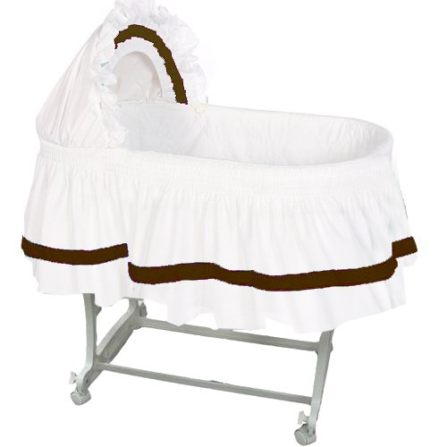 aBaby Modern Style Short Bassinet Skirt, Chocolate, Small