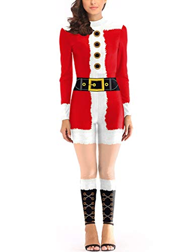 Amiliashp Christmas Costume Bodysuit Santa Claus Elf Long Sleeve Cosplay Jumpsuit Overall Catsuit Unitard Tights for Women
