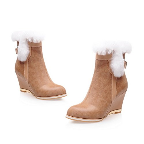 Buckle Leather Imitated BalaMasa apricot Ladies Boots Fur Two Collar Toned UWRqxw
