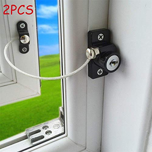 Window Door Restrictor Safety Locking, Elevin(TM) 2pcs Window Door Restrictor Safety Locking UPVC Child Baby Security Wire Cable (Black) -