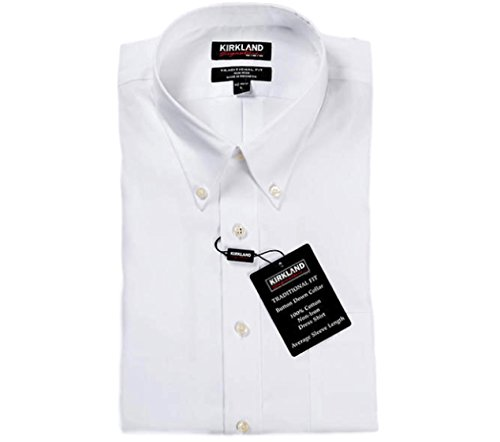 Kirkland Signature Mens Traditional Fit 100% Cotton Non Iron Button Down Dress (Non Iron Wrinkle Free Dress Shirt)