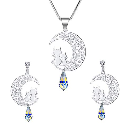 ISAACSONG.DESIGN 925 Sterling Silver Cat Eye Moonstone Apple/Cat Kitty Crystal Pearl Charms Pendant Necklace and Earring Set for Women (Cat on Moon Set)