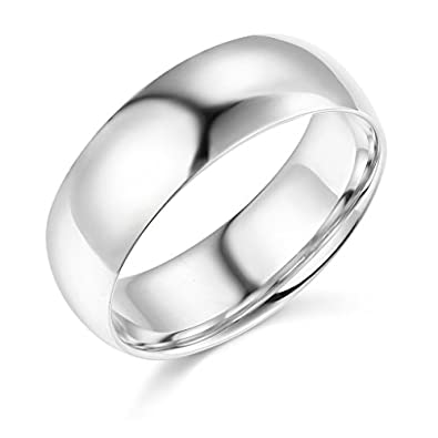 14k White Gold 7mm SOLID Plain Wedding Band