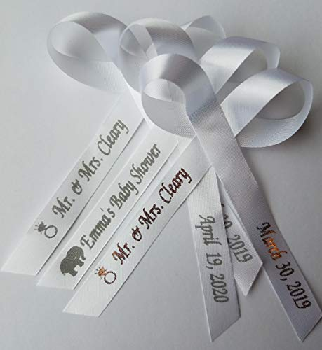 25 Personalized Ribbons Custom Bridal Shower Favor Party Favors Wedding Bridesmaid Memorial Ribbons Funeral Baby Shower Invitations Mis XV años Quinceanera Satin Ribbons (White Ribbon)