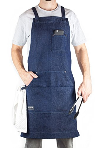 Hudson Durable Goods - Denim Apron for Chef, Kitchen, BBQ, and Grill (Indigo Blue) with Towel Loop + Tool Pockets + Quick Release Buckle, Adjustable M to XXL