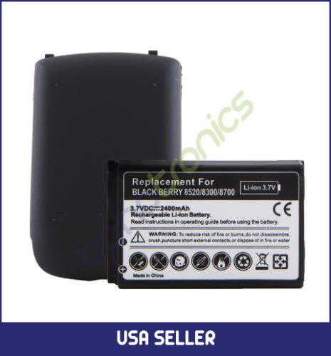 Boho Tronics Blackberry Curve 8300/8520/8700 Lithium-ion Li-ion Extended Battery 2400mAh and Back ()