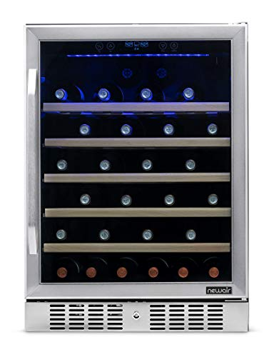 NewAir Built-In Wine Cooler and Refrigerator, 52 Bottle Capacity Fridge with...